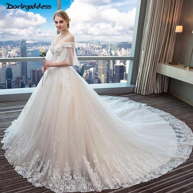 677a05f9d9d Роскошный полный шнурок арабский свадебные платья Дубай с открытыми плечами  3D цветы блестками Романтические свадебные платья