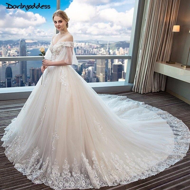 Luxury Full Lace Arabic Wedding Dresses Dubai Off Shoulder 3d