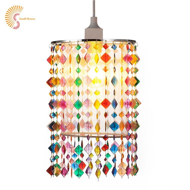 Colorful Chandelier Lights for kids Acrylic Beads lights Fabric lampshade for home decoration with Chrome Sliver E27 Iron Frame
