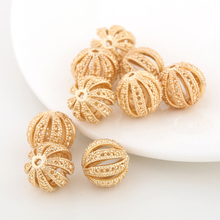 6PCS 12MM 24K Champagne Gold Color Plated Brass Round  Hollow Spacer Beads Bracelet High Quality Jewelry Accessories