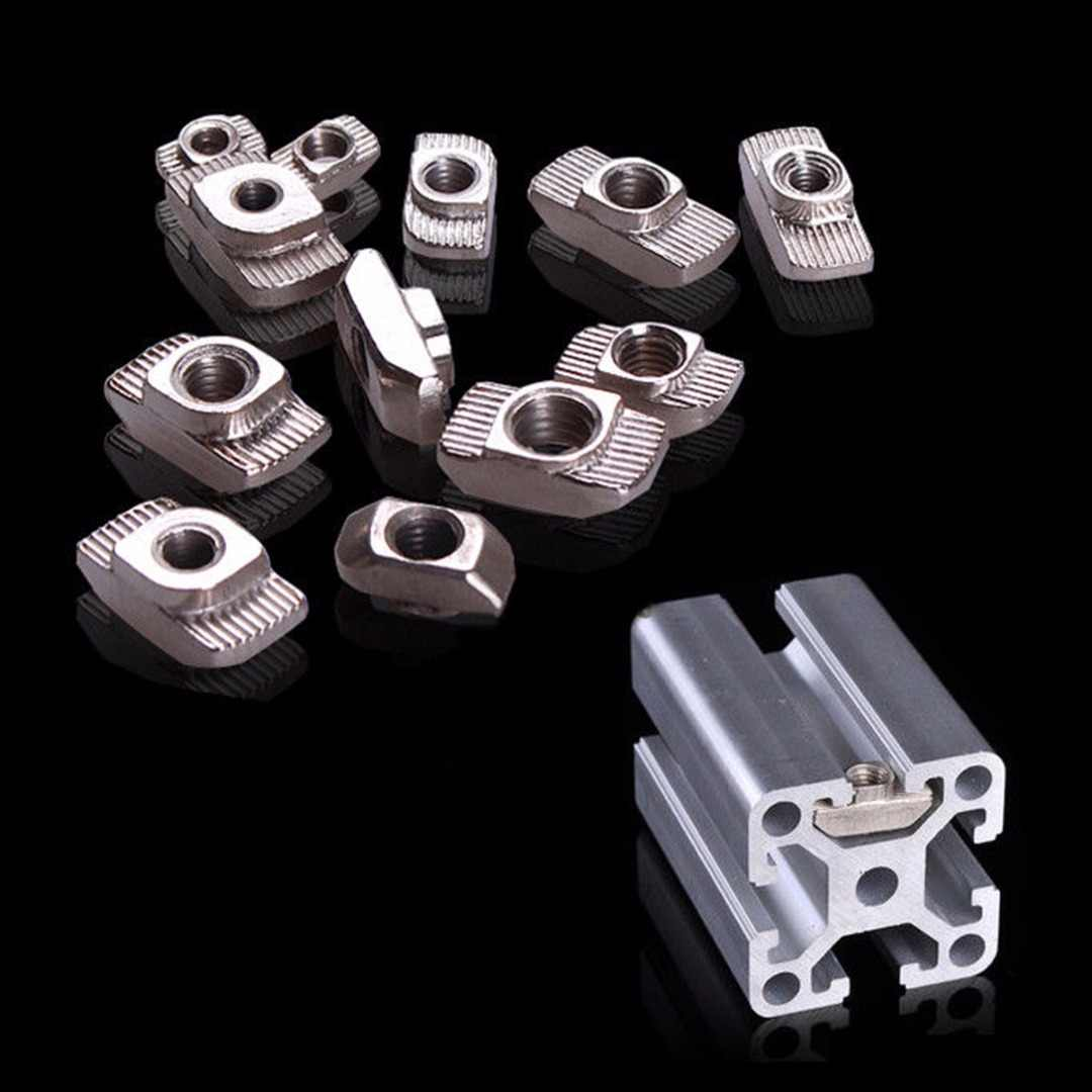 10pcs Carbon Steel T-Slot Shape Interior Sliding Nut Block Set 20x20 EU Aluminum Profile M4/M5