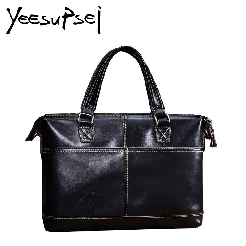 YeeSupSei Genuine Leather Bag Business Men Bags 14 inch Laptop Tote Briefcase Crossbody Bag Shoulder Handbag Men's Messenger Bag