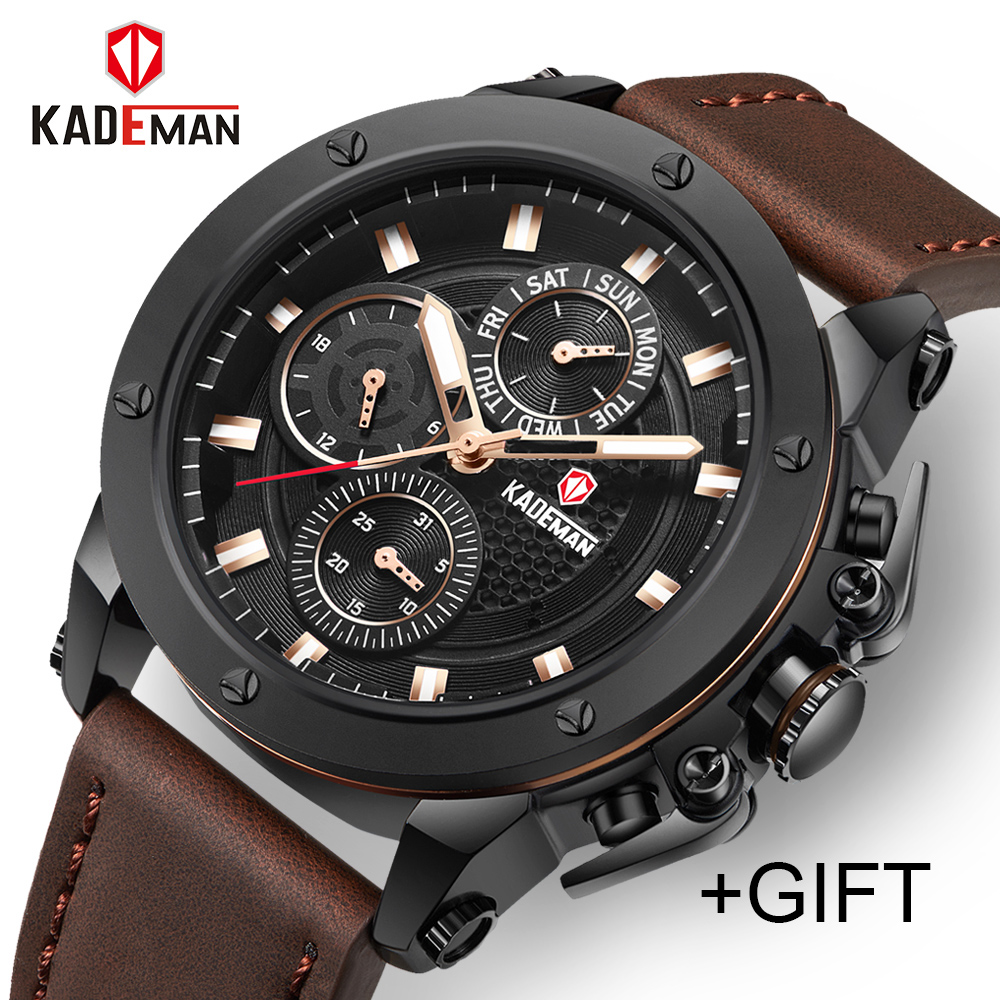 купить KADEMAN Top Brand Men's Fashion Casual Sport Watches Men Waterproof Leather Quartz Watch Man military Clock Relogio Masculino по цене 1789.01 рублей