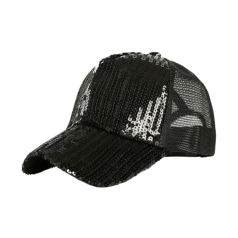Unisex Glitter Sequins Summer Solid Color Baseball Cap Adjustable Mesh Splicing Breathable Magic Hip Hop Trucker Hat Clubwear in Women 39 s Baseball Caps from Apparel Accessories