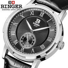 Швейцария часы мужские люксовый бренд БИНГЕР свечение Механические Наручные Часы кожаный ремешок 100 М Водонепроницаемость B-5037-4