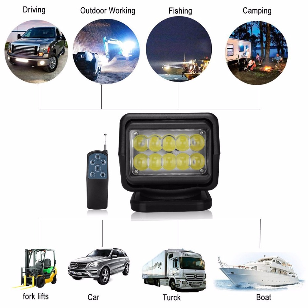 все цены на IP67 10-30V Remote control LED Searchlight 7inch 50W Spotlight LED Work Light TRUCK SUV BOAT MARINE driving light онлайн