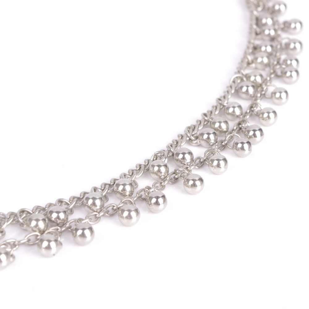 JINSE AK080 moda kobiety srebrne na stopę łańcuch dwuwarstwowy dzwon joga anklets bransoletka na kostkę biżuteria na stopy