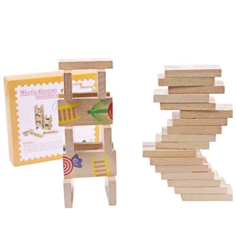Bloques de madera de juguete para niños 28 Uds rompecabezas de dominó de animales juguetes educativos de alta calidad juego de jardín de infantes regalos de cumpleaños