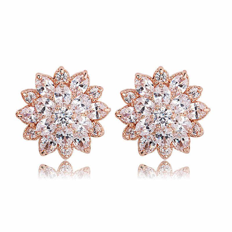 Rose Gold farbe Luxus Ausgezeichnete Cut Klar Zirkonia Blume Stud Ohrringe Frauen Valentinstag Geschenk Schmuck
