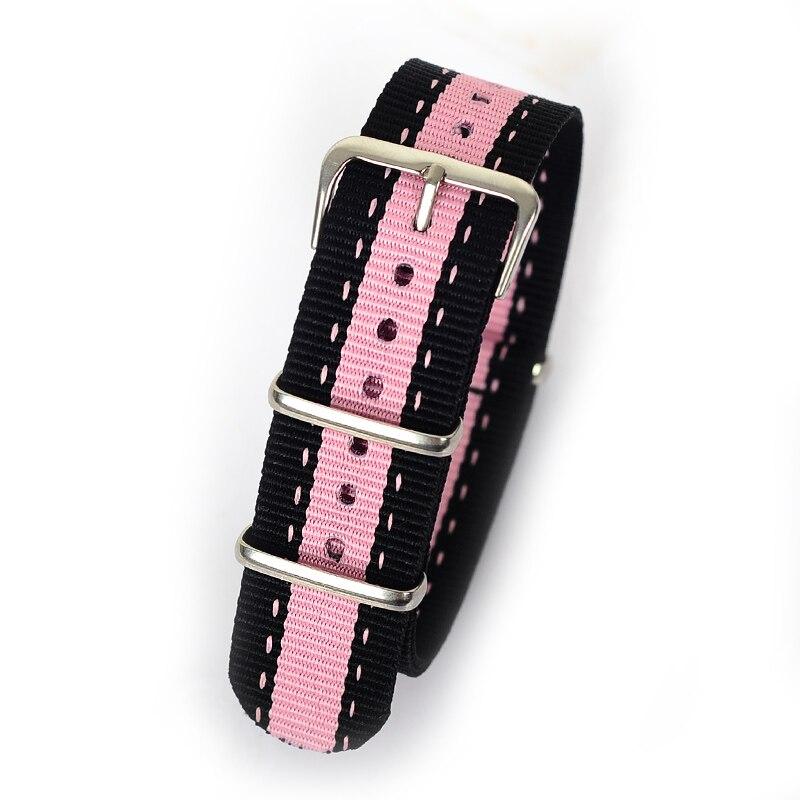 7d5585c4f4fa Détail 20mm noir rose noir Sport tissu nato regarder la bande sangles  accessoires Bandes nylon bracelet acier Boucle ceinture