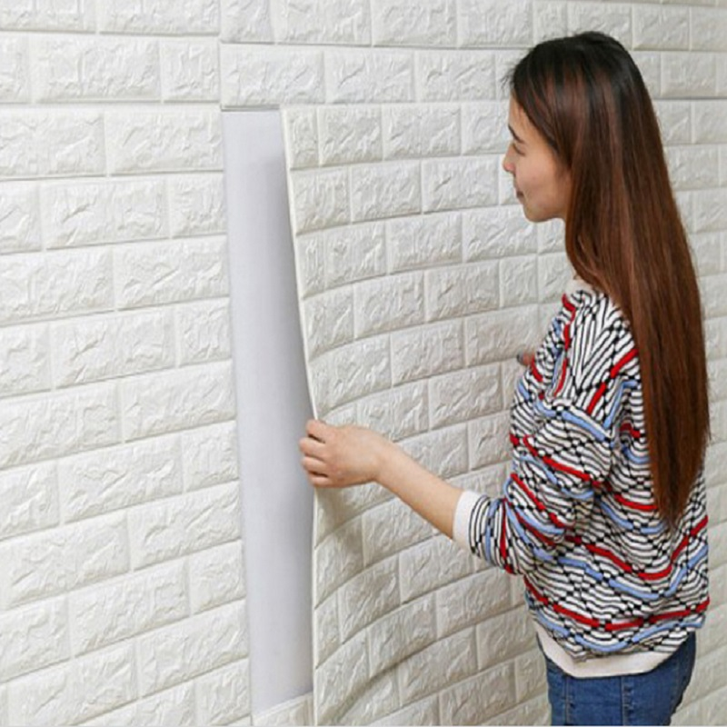 cheaper wholesale Creative 3d brick soft self-adhesive wallpaper baby bubble wall decor TV background living room wall stickers
