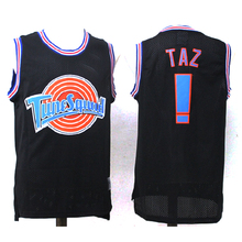 "Iverson Man Basketball Jerseys ""Space Jam"" TAZ TWEETY 1/3 Basketball Shirt White Black Sport Vest Embroidery Jersey Basketball"