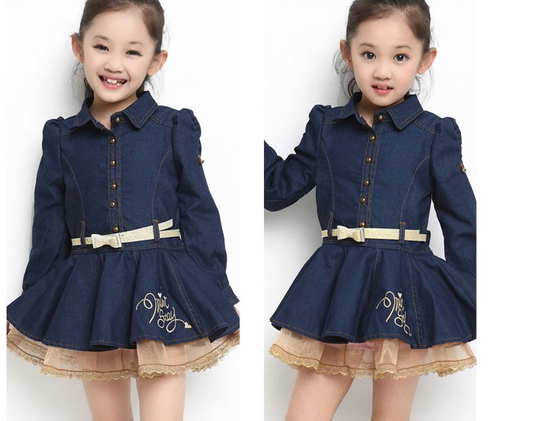 Free shipping children clothing spring/autumn girl leisure denim dress girl Belt decoration long sleeve dress free shipping children s clothing spring autumn girl leisure flower pattern girl suit long sleeve sweatshirt pants set
