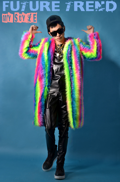 2016 íris casaco De Pelúcia casaco longo legal boate traje masculino roupa ao ar livre magro desgaste desempenho show de estrela cantora dançarina
