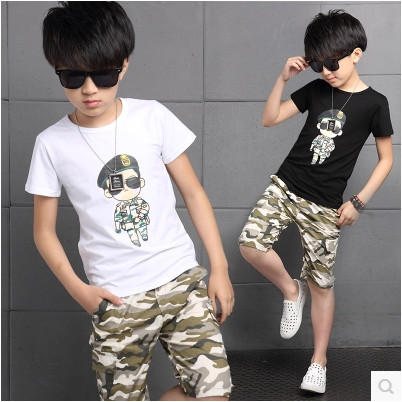 Kids boys short-sleeved suit 2017 new summer children's cotton casual T-shirt big virgin piece shorts girls clothes 3-15 years 2 beanbus summer children s t shirts for boys casual t shirt o neck printing cartoon cotton boys short sleeved t shirt boy clothes