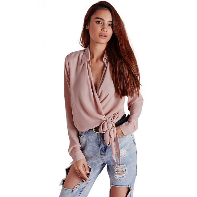 5377f803f4ba4a Pink long sleeve deep v neck wrap shirts for women spring long sleeve waist  tie office work blouses ladies oversized formal tops