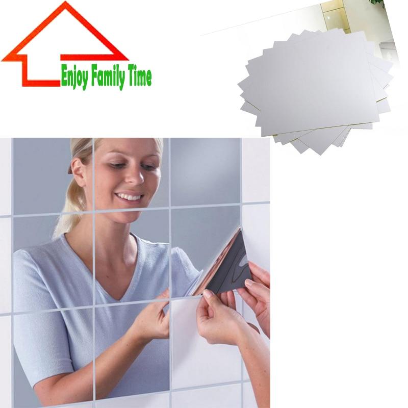 16pcs Mosaic Mirror Tile Self Adhesive Square Wall Sticker Home Room