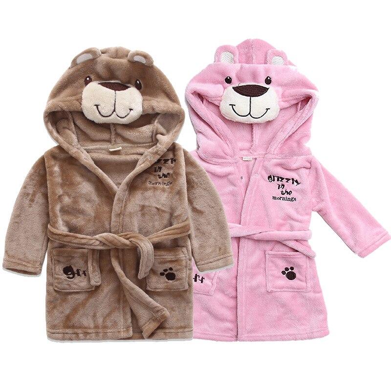 באיכות גבוהה פלנל חלוק רחצה לילדים בני בנות בגדי תינוק גלימות פיג 'מה רכה ילדי הלבשת Nightwear תינוק בגדים
