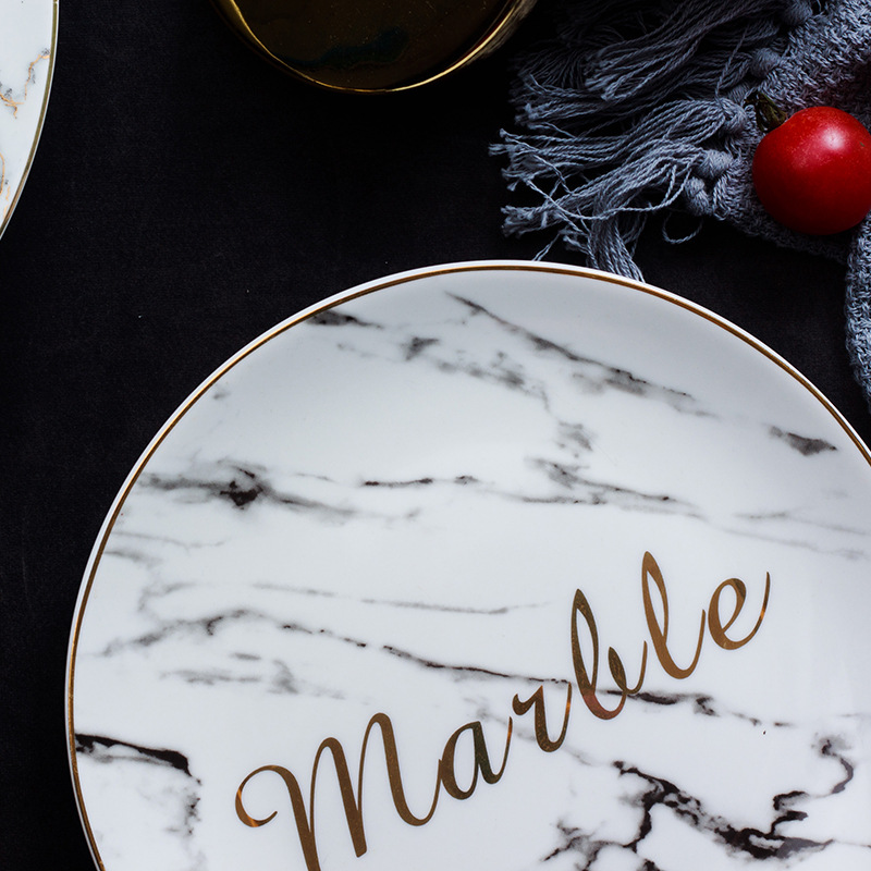 6 8 10 Inch Marble Ceramic Plate Unique Dinner Flat plate Set Dish Dessert Western food Plate Wholesale Dinnerware Cake Tray in Dishes Plates from Home Garden