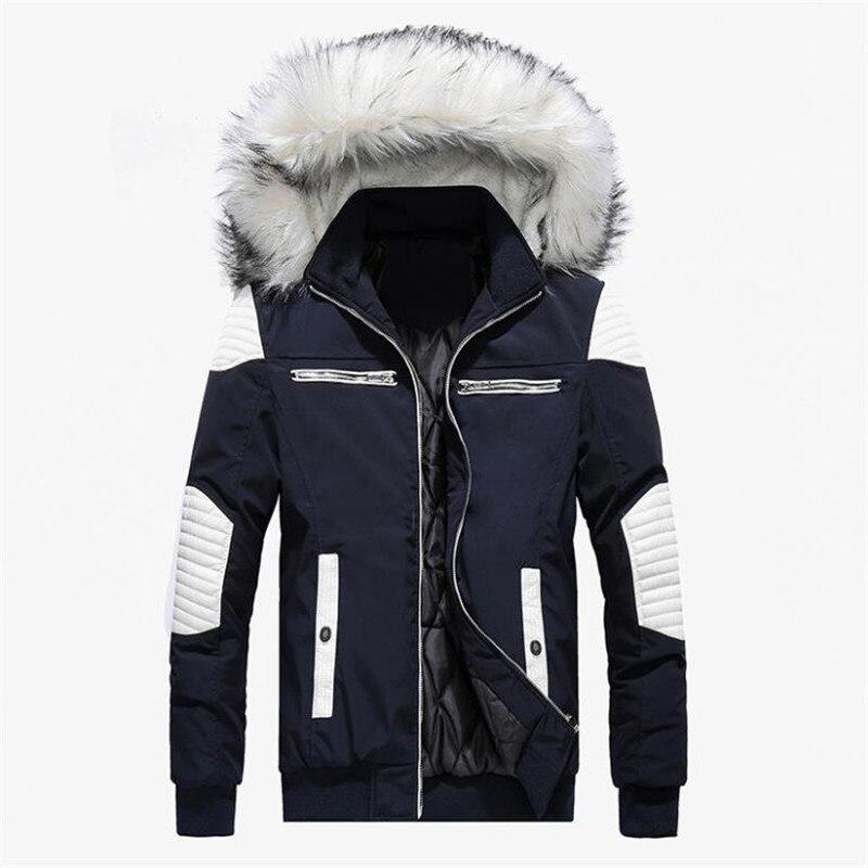 Automne et hiver nouveaux hommes de coton veste épais chaud casual manteau à capuchon grand col de fourrure vers le bas veste grande taille