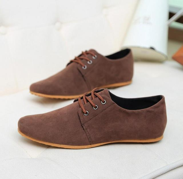 48a39c4a7cc42 Brand Minimalist Design Genuine Suede Leather Men Casual Shoes Hot Sale  Flat British Style Oxford Shoes Big Size 39-46