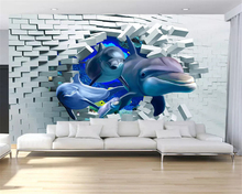 beibehang Custom size Customized eco-friendly papel de parede 3d wallpaper Dolphin stereo child living room bedroom background