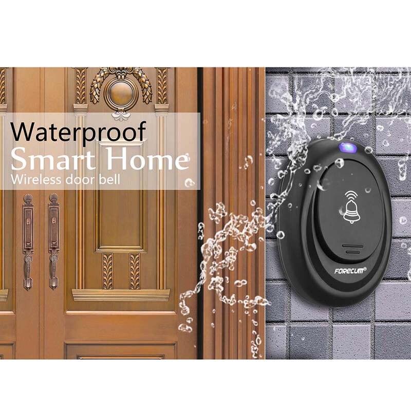 Black Durable Waterproof Wireless Remote Control Intelligent Ring Doorbell Deurbel With 36 Songs Store Office Welcoming Tools