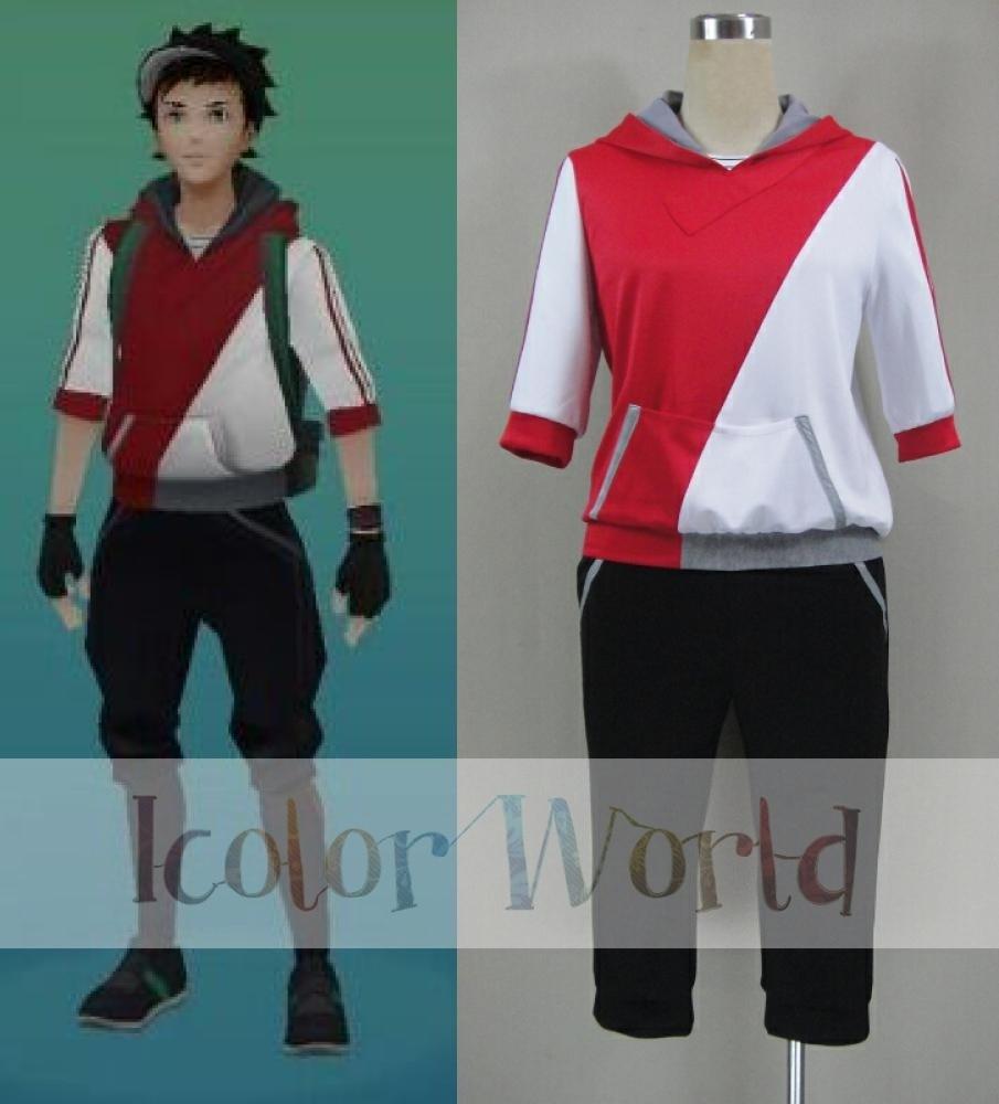 Game Pokemon Go Trainer Figure Red Team Valor Instinct Mystic Cosplay Costume