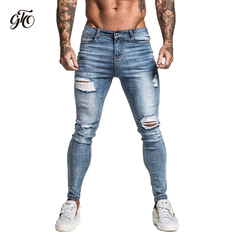 Gingtto Skinny   Jeans   For Men Faded Blue Ripped Distressed Stretch Hip Hop Slim Fit Pants Super Spray On Repaired Plus Size zm45