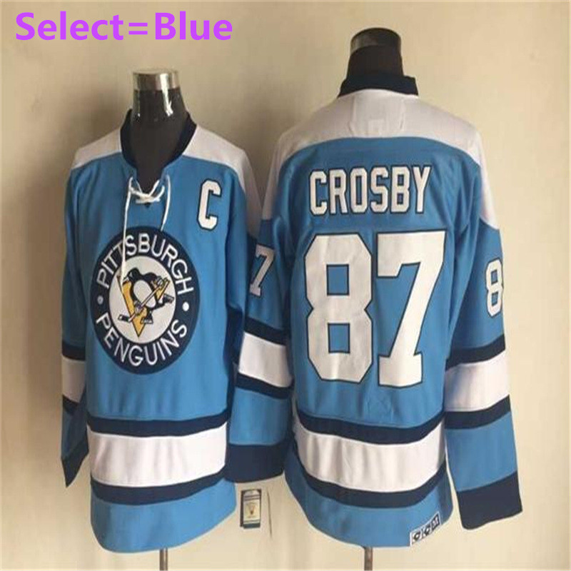 a932956f3c4 ... SexeMara Mens 87 Sidney Crosby Blue Black White Home Throwback  Embroidery Hockey Jerseys High Quality Free Mens Pittsburgh Penguins ...