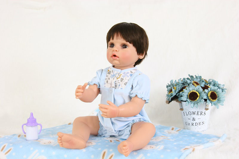 55cm Full Silicone Reborn Baby Boy Doll Toy For Girls Boneca 22inch Vinyl Newborn Babies Like Real Birthday Gift Child Bathe Toy цена