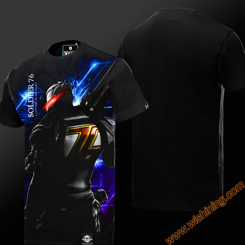 Darkness OW Soldier 76 T-shirt Short Sleeve Black Mens Tshirt Mens Boys Plus Size 3XL 4XL OW Soldier76 Tee