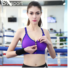 Hot Selling ! Women Padded Top Athletic Vest Gym Fitness professional Sports Bra Front zipper Stretch Cotton running yoga bra 01