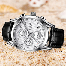 Business Leather Watch Relogio LIGE9826