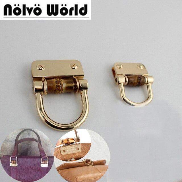30 pièces bambou accessoire D anneaux connecteur cintre, bambou naturel sac matériel rabat couvert accessoires, sacs poignée boucle 4 pièces