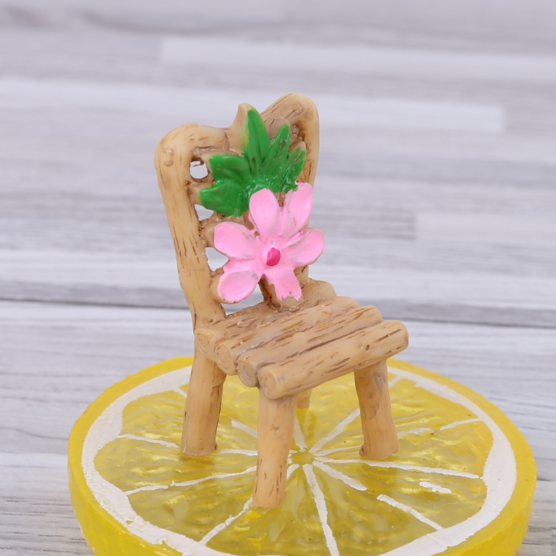Miniature Resin Table And Chairs Micro Garden Plant Pots Bonsai Craft Decoration