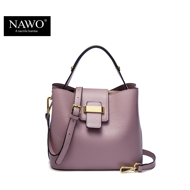 NAWO 2017 Designer Women Leather Handbags Bucket Shoulder Bags Ladies Crossbody Bags Small Cow Real Genuine Leather Women Bags