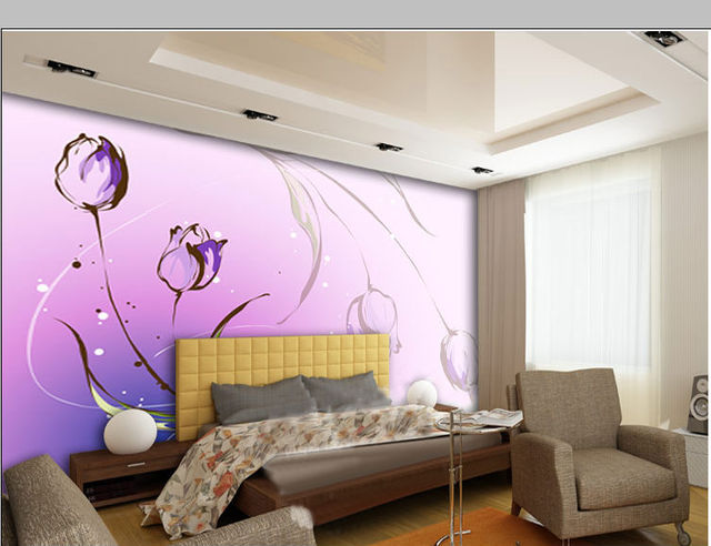Romatic Murals wallpaper Modern home deco fashion 3D stereo Purple ...