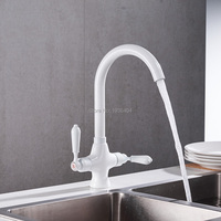 White Spray Painting Kitchen Faucet Dual Handle Design 360 Degree Rotation White Kitchen Faucet W3031