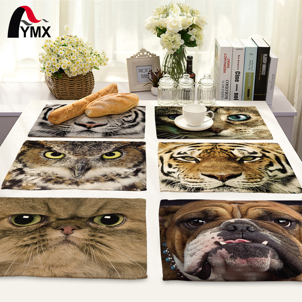 42*32cm Creative 3D Animal Printed Table Napkin Set Bowl Dining Mats Kids Table Set Home Decoration Accessories