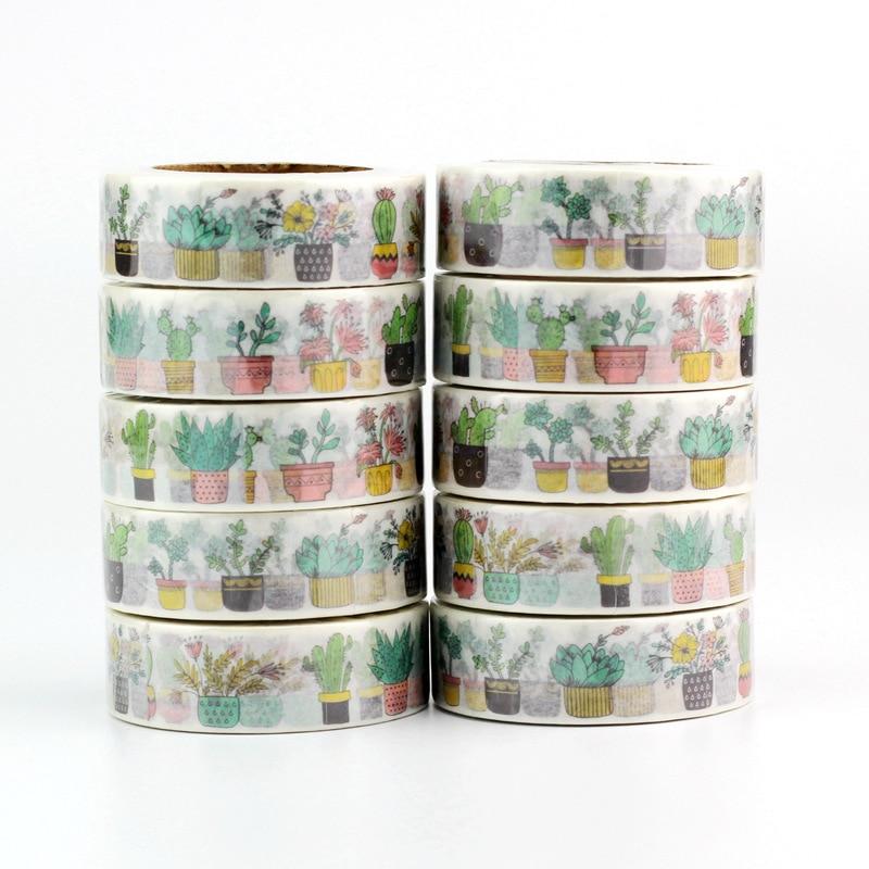 Haute qualité 10 pièces/lot mignon Cactus en pot plante Washi bandes bricolage décor Scrapbook planificateur adhésif ruban de masquage Kawaii papeterie