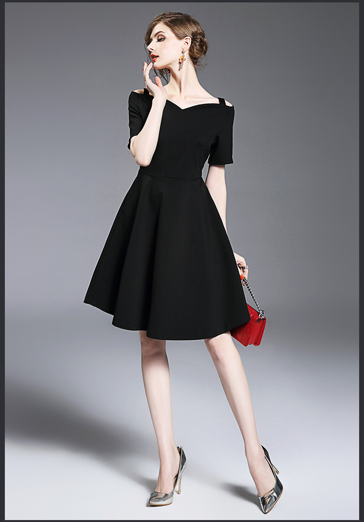 Elegant Black Cotton Slashes Midi Dress Sexy Women 2017 Short Sleeve ...