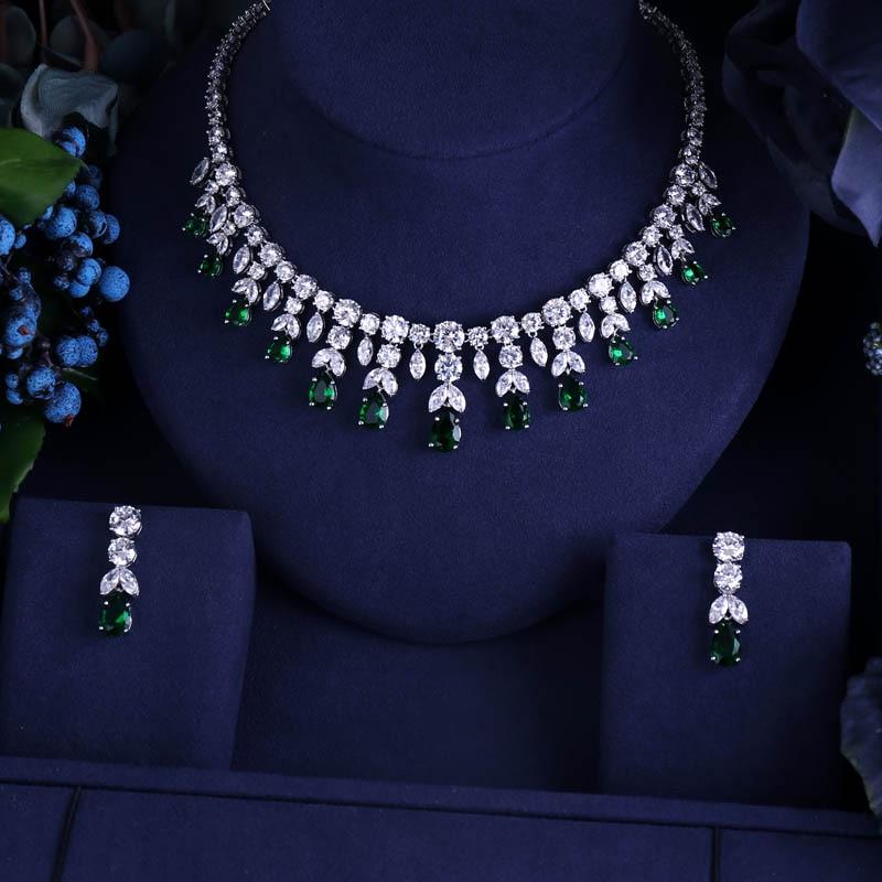 Janekelly Earring Necklace Jewelry Bridal-Dress-Accessories Cubic-Zircon Wedding Dinner