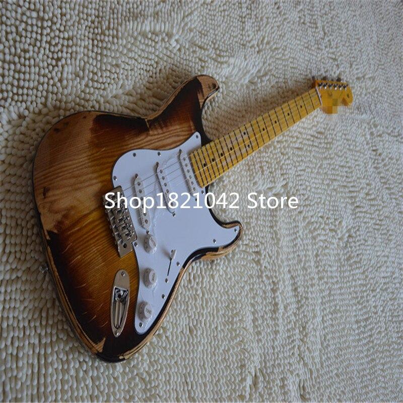 2019 nouveau + guitare factory + reliic chender guitare électrique, vintage chinois fait guitare dans un style ancien.