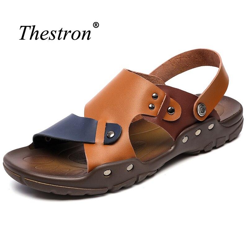 Mens Sandals Genuine Leather Summer Shoes Men Outdoor Anti-slip Walking Sandals Slip on Sandals for Male