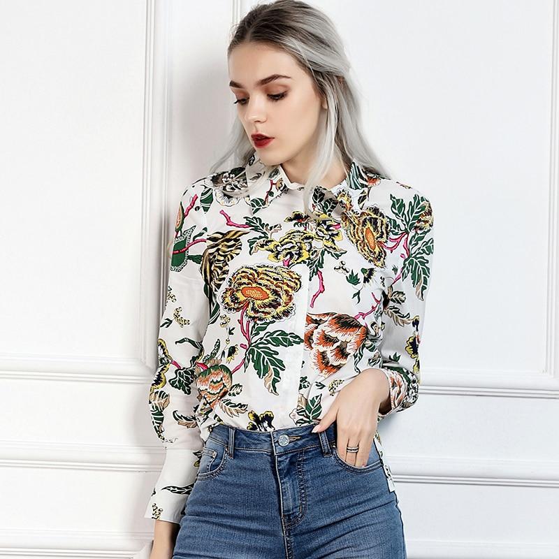 Floral Haut En Imprimé Chemise Marque shirts De Coton Britannique Kenvy Printemps Luxe Élégant Gamme Vert Mode Femmes T w7UppHq