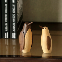Dania drewno mały pingwin ozdoby krajem ameryki miękka dekoracja obudowa model study pulpit drewniany sprzęt do zabawy w Figurki i miniatury od Dom i ogród na