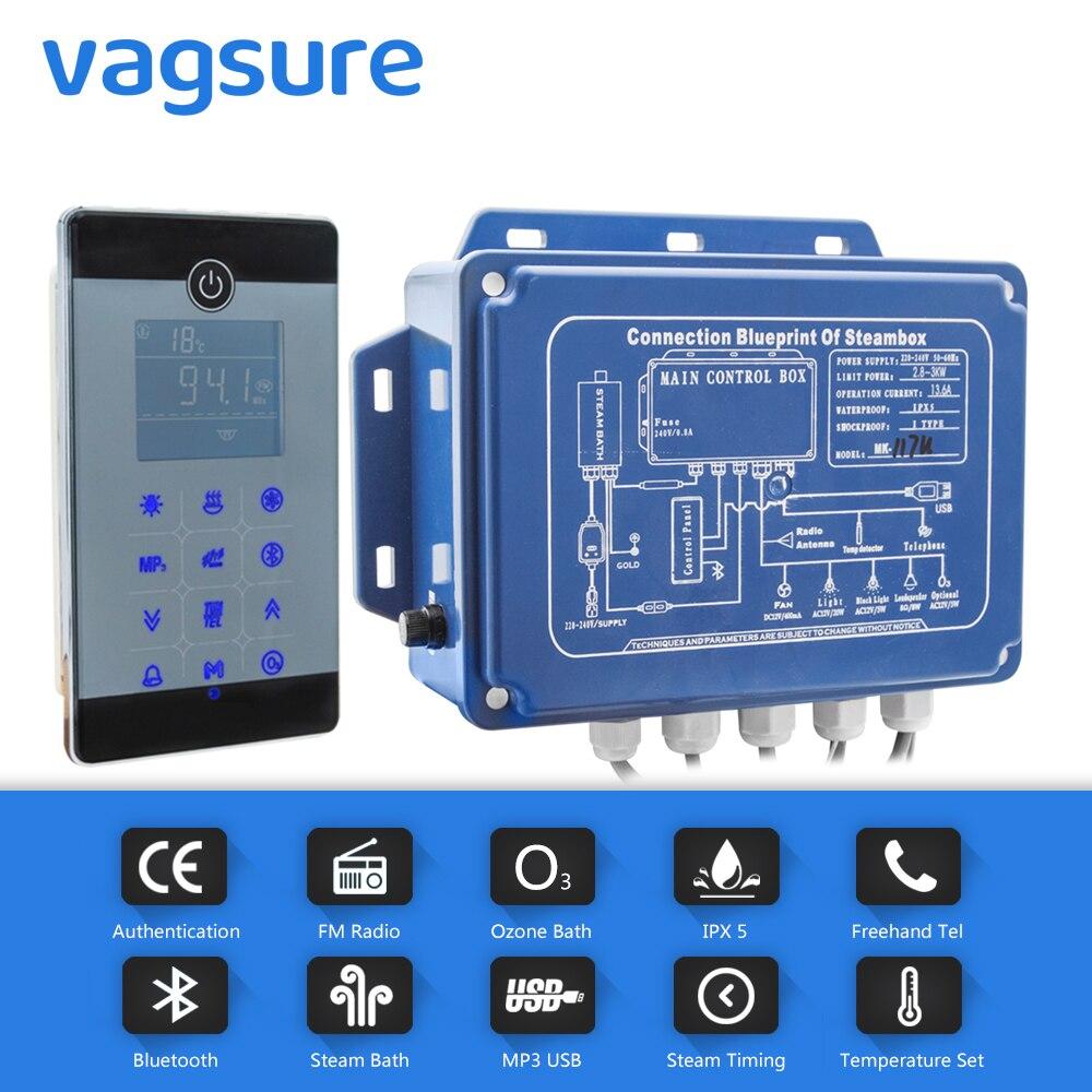 Impermeabile IPX5 bluetooth e MP3 USB regolatore di generatore di ozono sauna spa con impostazione del tempo a vapore a vapore e sensore di temperatura
