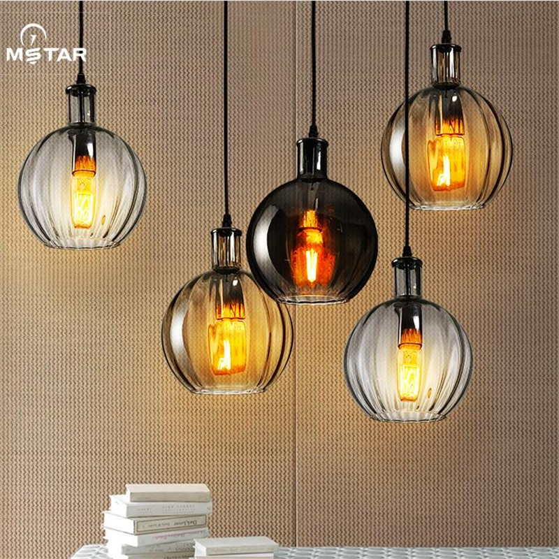 цена на Vintage Retro Loft Handmade Crystal Glass Led E27 Pendant Light for Dining Room Restaurant Bar Drop Lamp Dia 18cm 3 Colors 1505