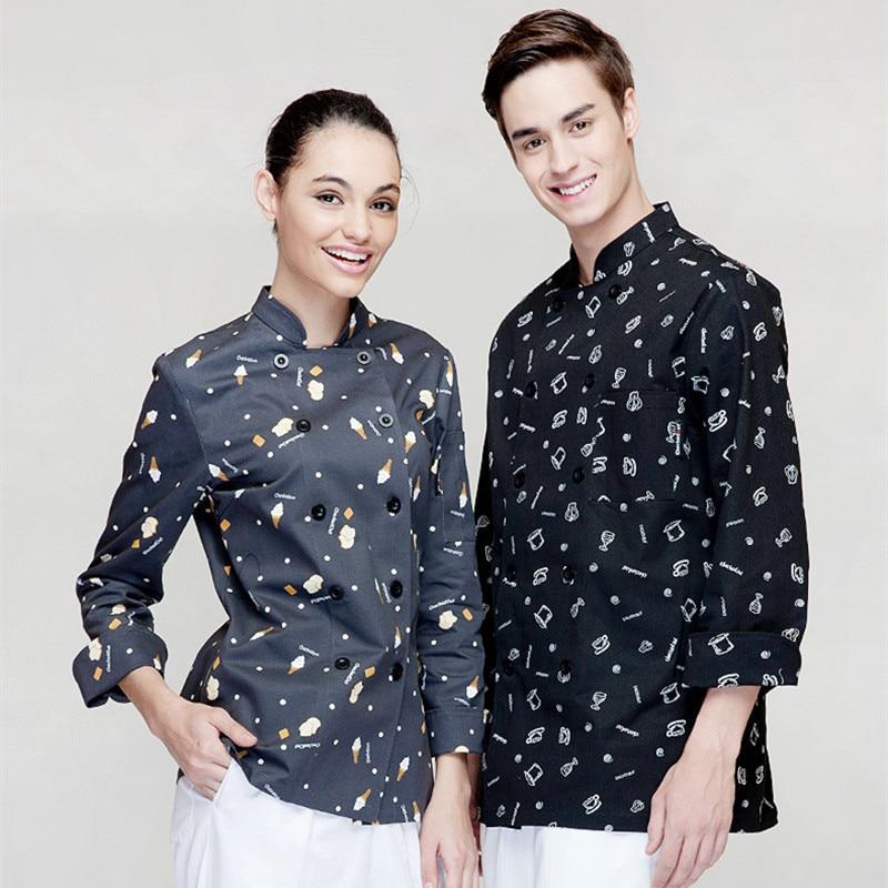 (5 Krijgen 10% Off, 10 Krijgen Schort Gratis) Man/vrouw Lange Mouw Chef Dragen Uniform Ober Shirt Uniform Werkkleding Werk Kleding 50% Korting